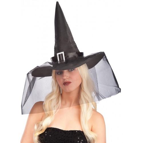 Chapeau de sorcière noir avec voile