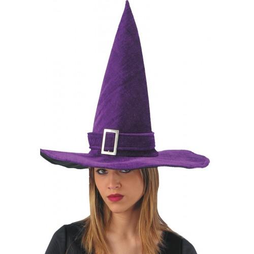 Chapeau de sorcière velours violet