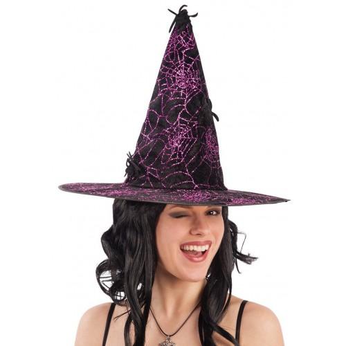Chapeau de sorcière violet avec araignées