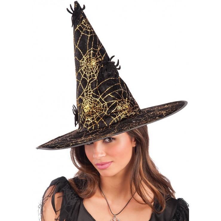 Chapeau de sorcière doré avec araignées