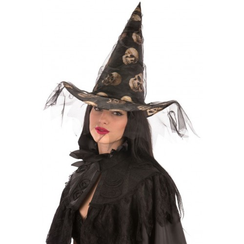 Chapeau de sorcière crâne et voile