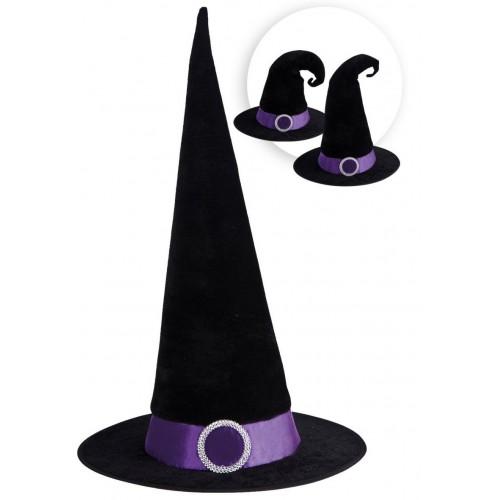 Chapeau de sorcière noir avec bandeau violet