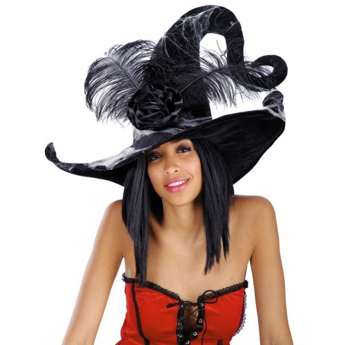 Chapeau de sorcière noir avec toile et plumes