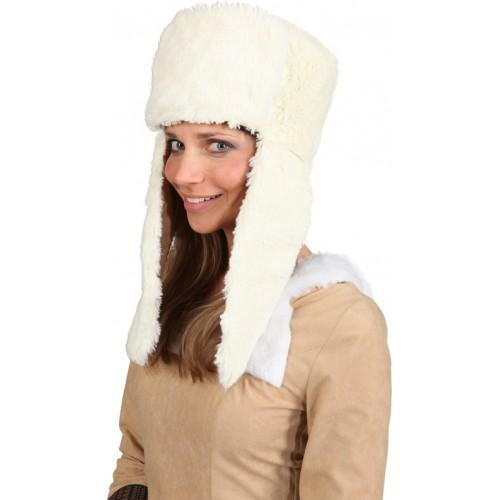 Chapeau de fourrure crème
