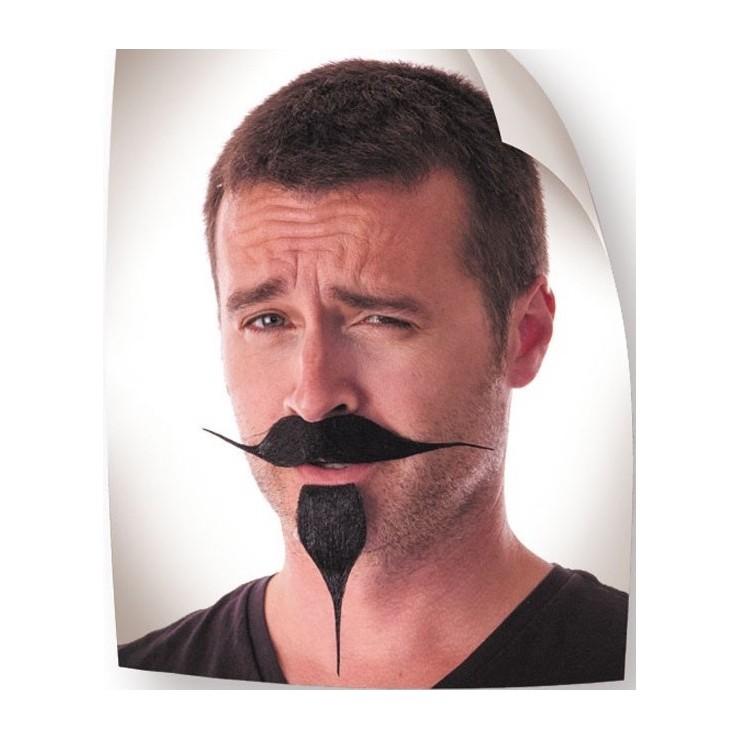 Moustache et barbiche noir