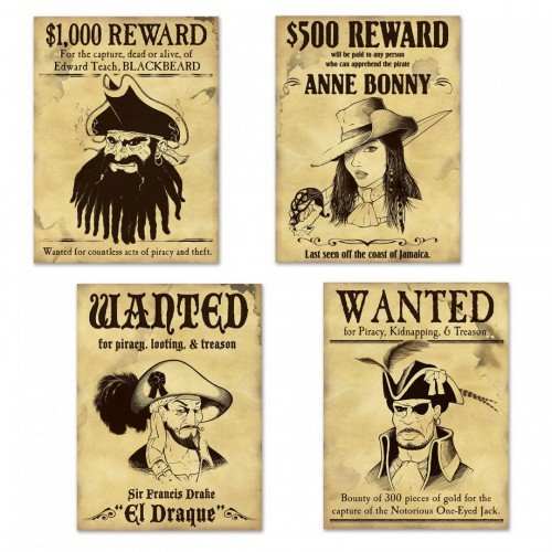 Découpages pirate Wanted x4