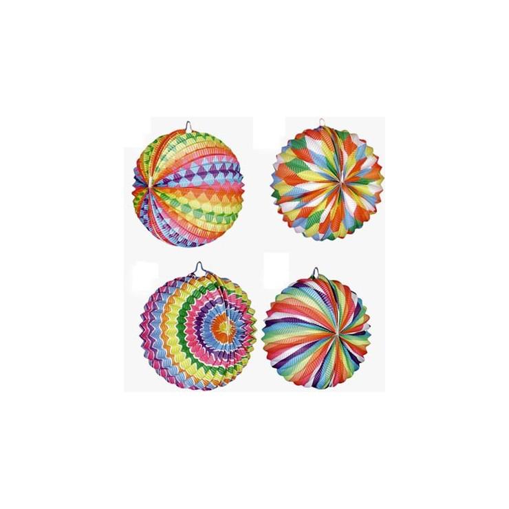 Lampions boules bariolées x12