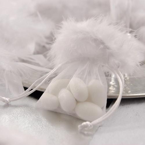 Sac à dragées blanc avec plumes x5