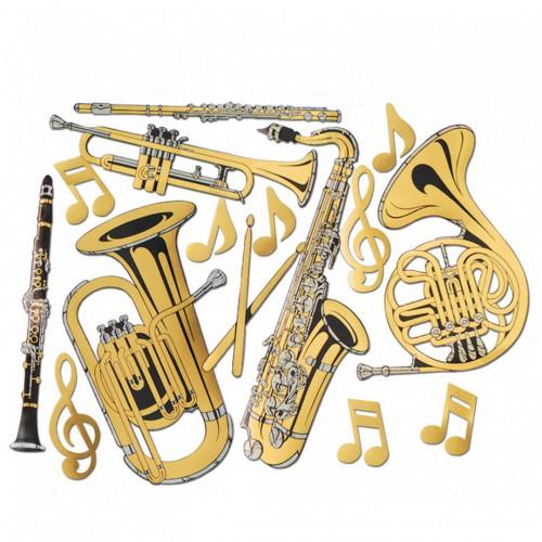Découpages musique dorés x15
