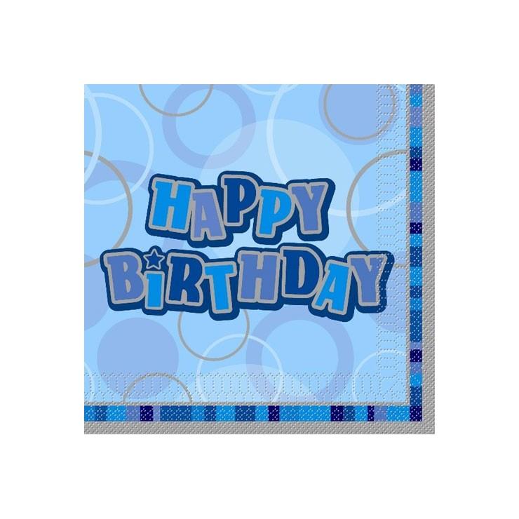 Serviettes Happy Birthday Bleues