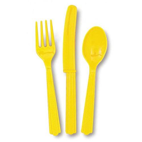 Couverts jaunes en plastique