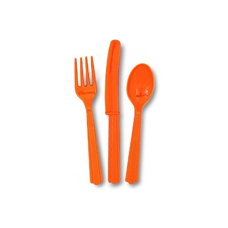 Couverts orange en plastique