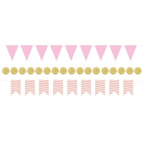 Petites guirlandes rose et or x3
