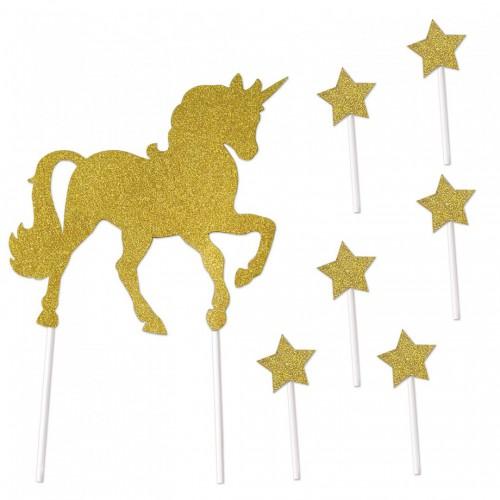 Décorations pour gâteau licorne dorée