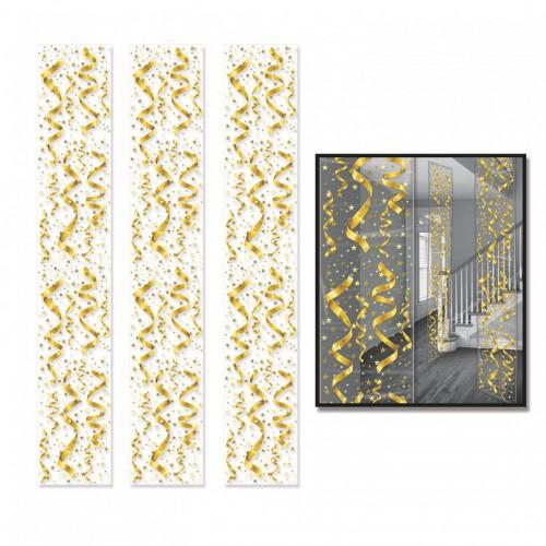 Suspensions dorées serpentins et étoiles 30x182 cm