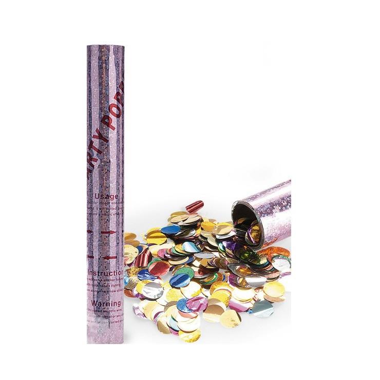Canon confetti ronds metalliques