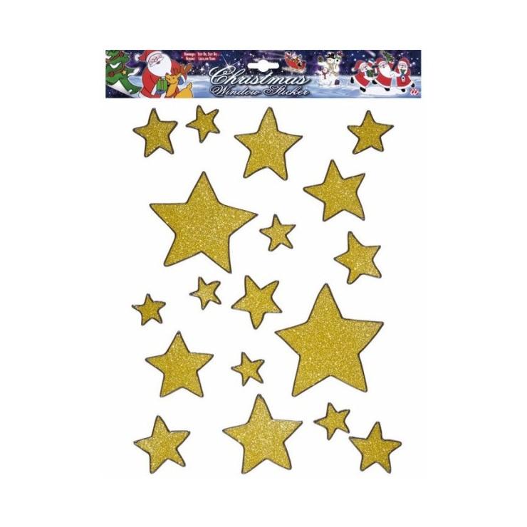 Vitrophanie étoiles dorées