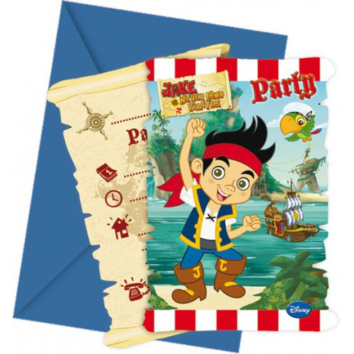 Invitations Jake & les pirates x6