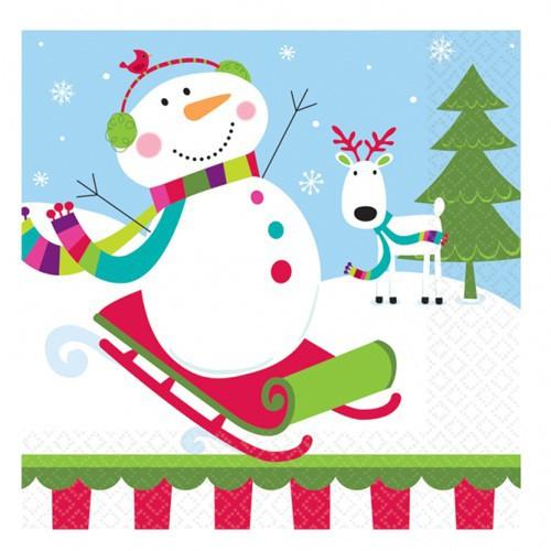 Serviettes Bonhomme de neige x16