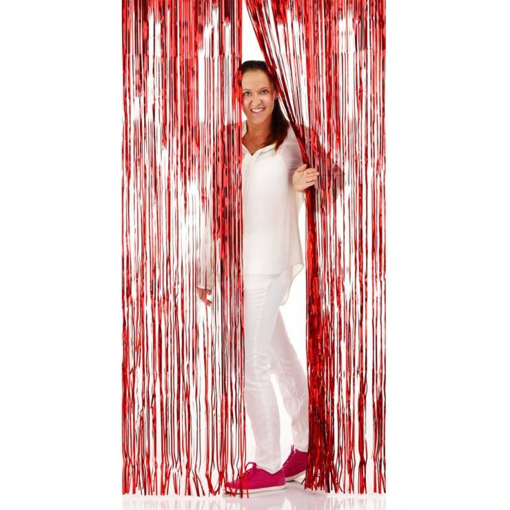 Rideau de porte lamé rouge