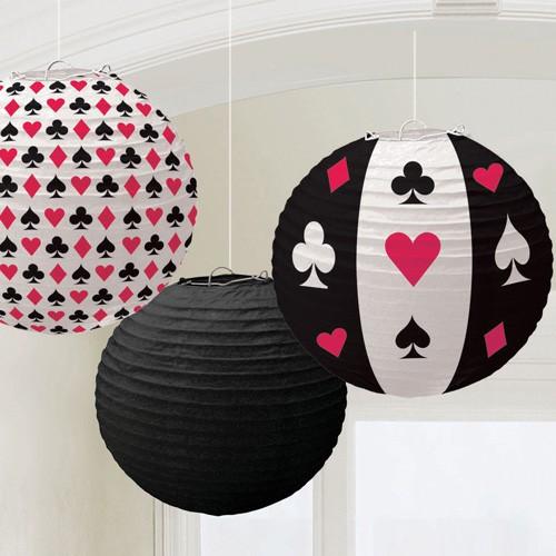 Lanternes deco Poker x3