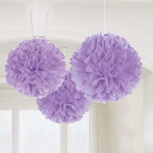 Fluffy ball lilas pastel x3