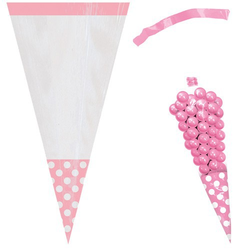 Sac à bonbons cone rose pastel x10