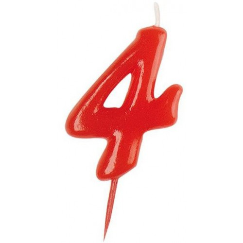Bougie rouge chiffre 4