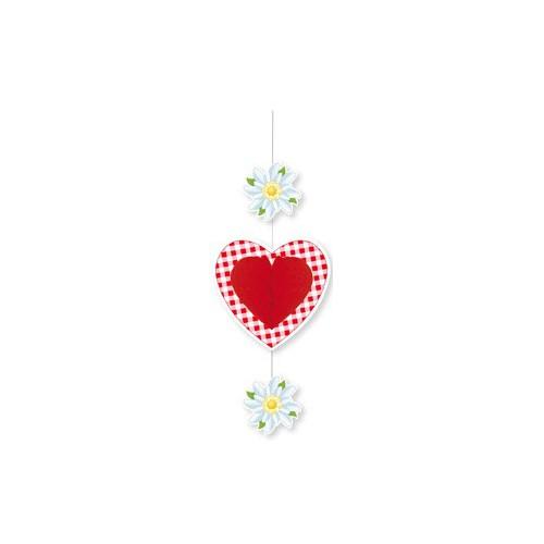 Suspension coeur rouge et edelweiss