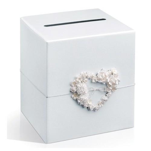 Urne blanche perlée avec coeur