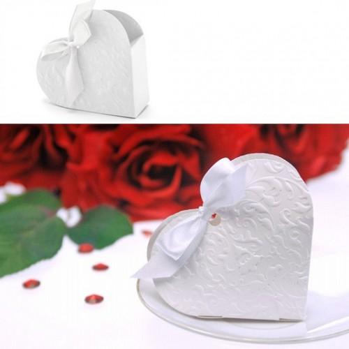 Boite à dragées coeur blanc x10
