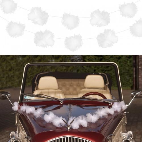 Guirlande tulle blanc deco voiture x3