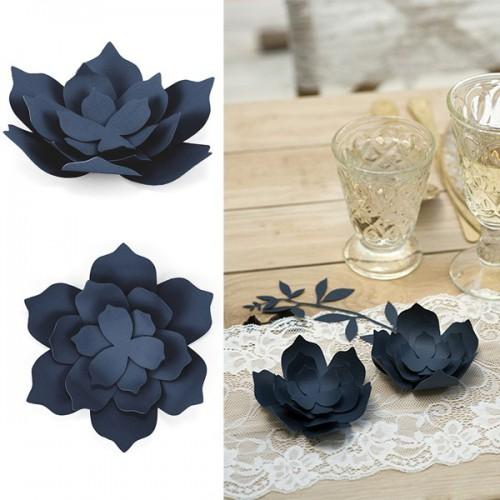 Fleur deco bleu nuit x3