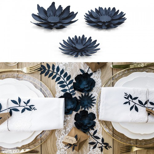 Assortiment de fleurs deco bleu nuit