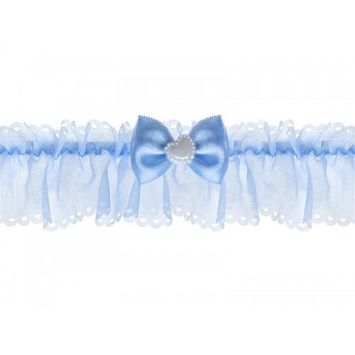 Jarretière mousseline bleue