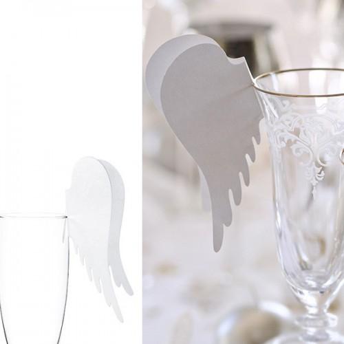 Marque-place ailes d'ange sur verre x10