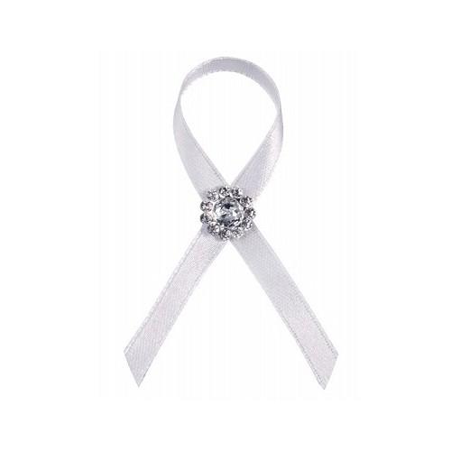 Boutonnière blanche avec diamants x25