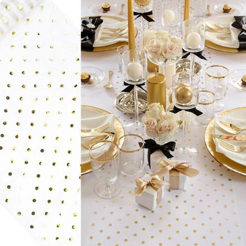 Chemin de table blanc à pois dorés