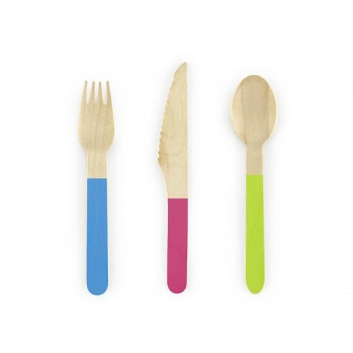 Couverts en bois - couleurs vives x6 sets
