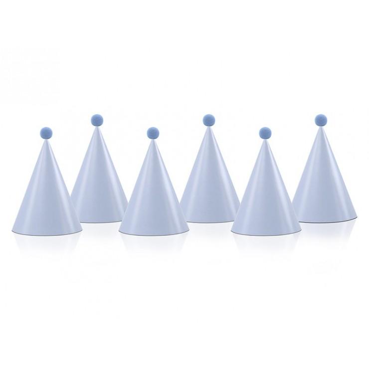 Chapeau bleu ciel avec pompon x6
