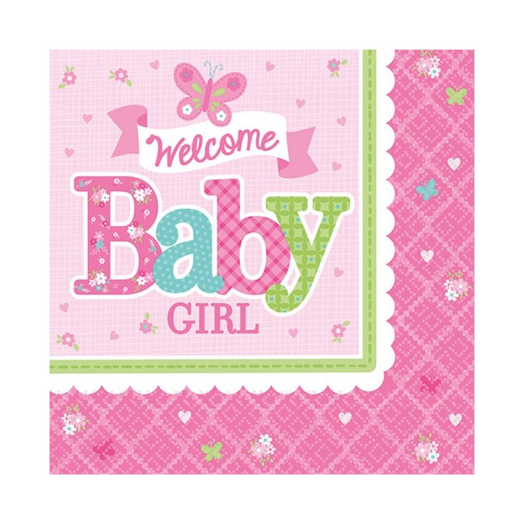 Serviettes Welcome Baby Girl