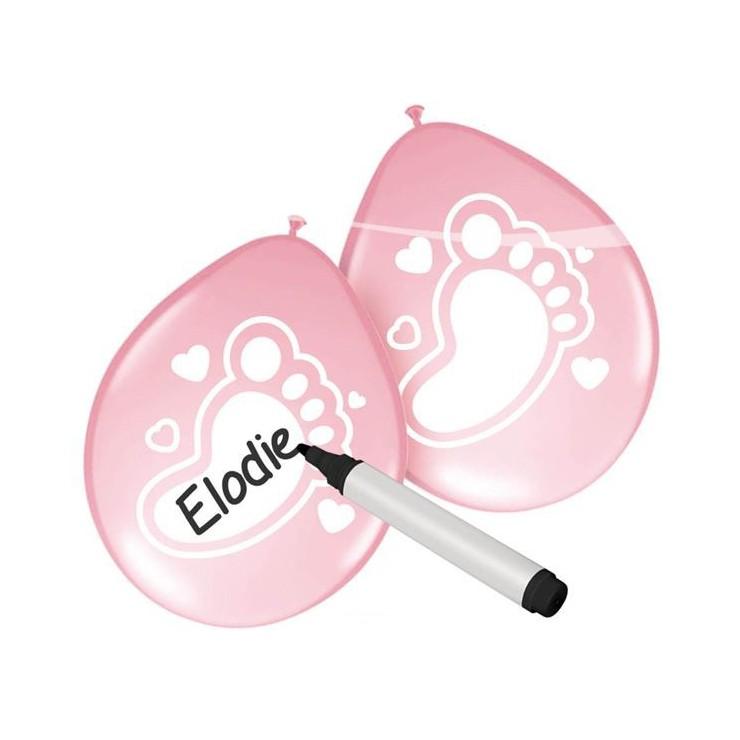 Ballon bébé rose personnalisable x6