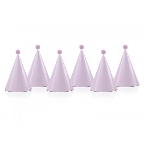 Chapeau rose avec pompon x6