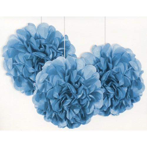 Boules deco bleues 22,8 cm x3