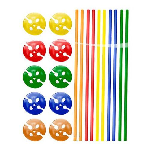 Tiges à ballons couleurs assorties x10