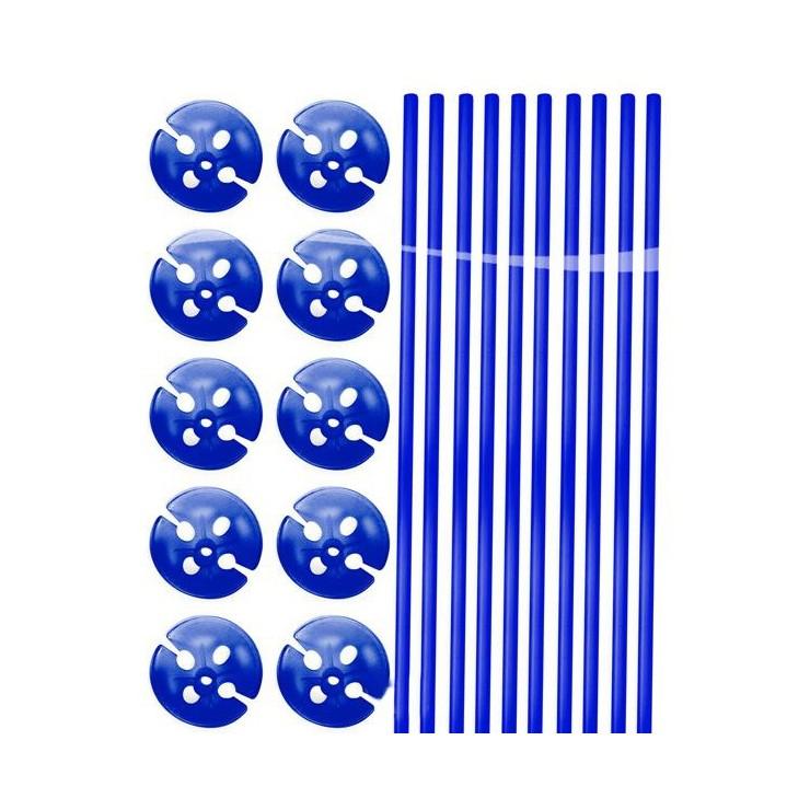 Tiges à ballons bleues x10