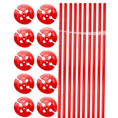 Tiges à ballons rouges x10