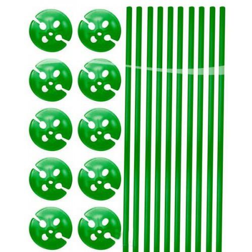 Tiges à ballons vertes x10