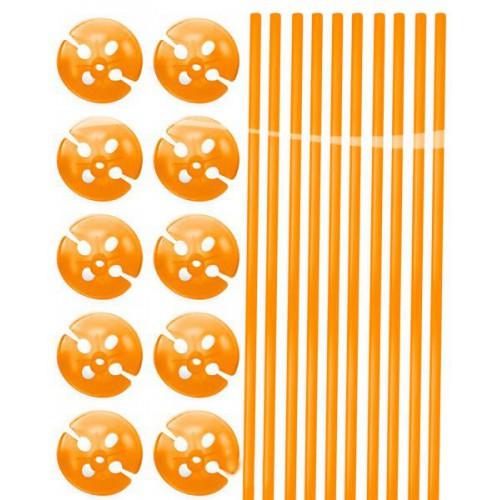Tiges à ballons orange x10