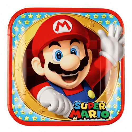 Assiettes carrées super Mario x8